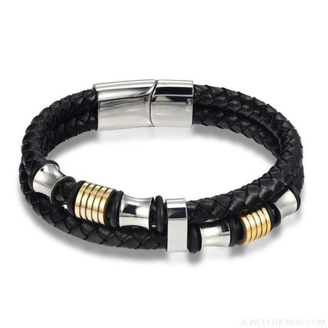 Leather Bracelet Double Layer 19/21/23Cm Gold/silver Color - Custom Made | Free Shipping