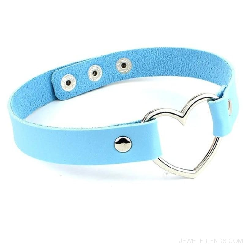 Leather Buckle Belt Stainless Steel Heart Chokers - Blue - Custom Made | Free Shipping