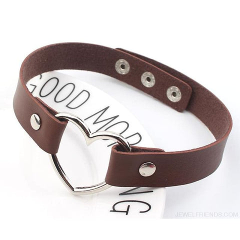 Image of Leather Buckle Belt Stainless Steel Heart Chokers - Brown - Custom Made | Free Shipping