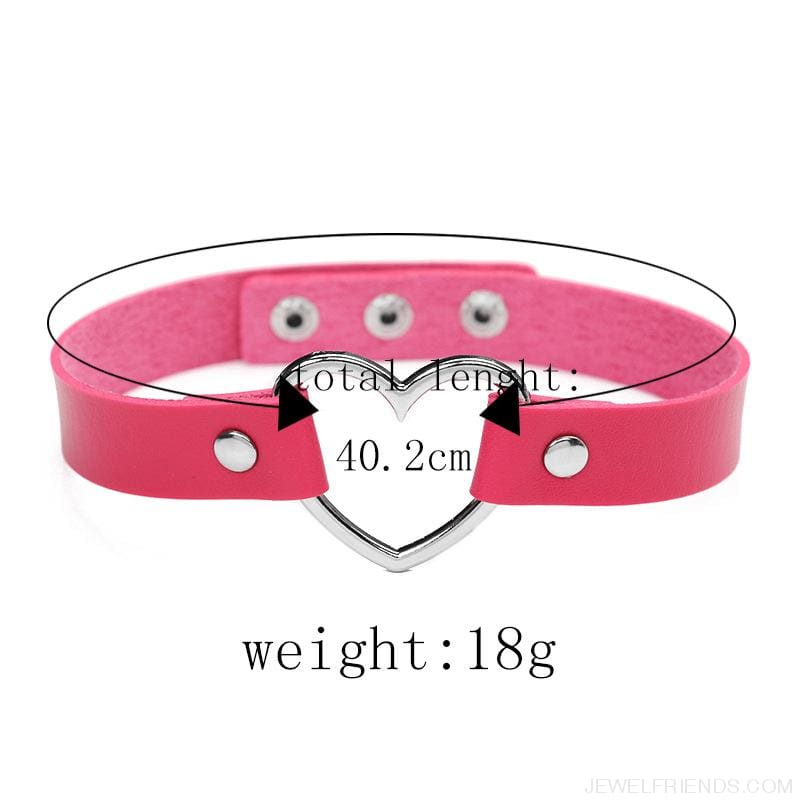 Leather Buckle Belt Stainless Steel Heart Chokers - Custom Made | Free Shipping