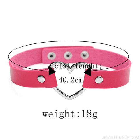 Image of Leather Buckle Belt Stainless Steel Heart Chokers - Custom Made | Free Shipping