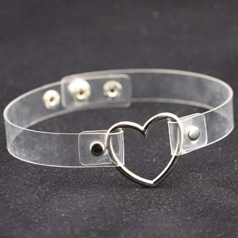 Image of Leather Buckle Belt Stainless Steel Heart Chokers - Transparent - Custom Made | Free Shipping