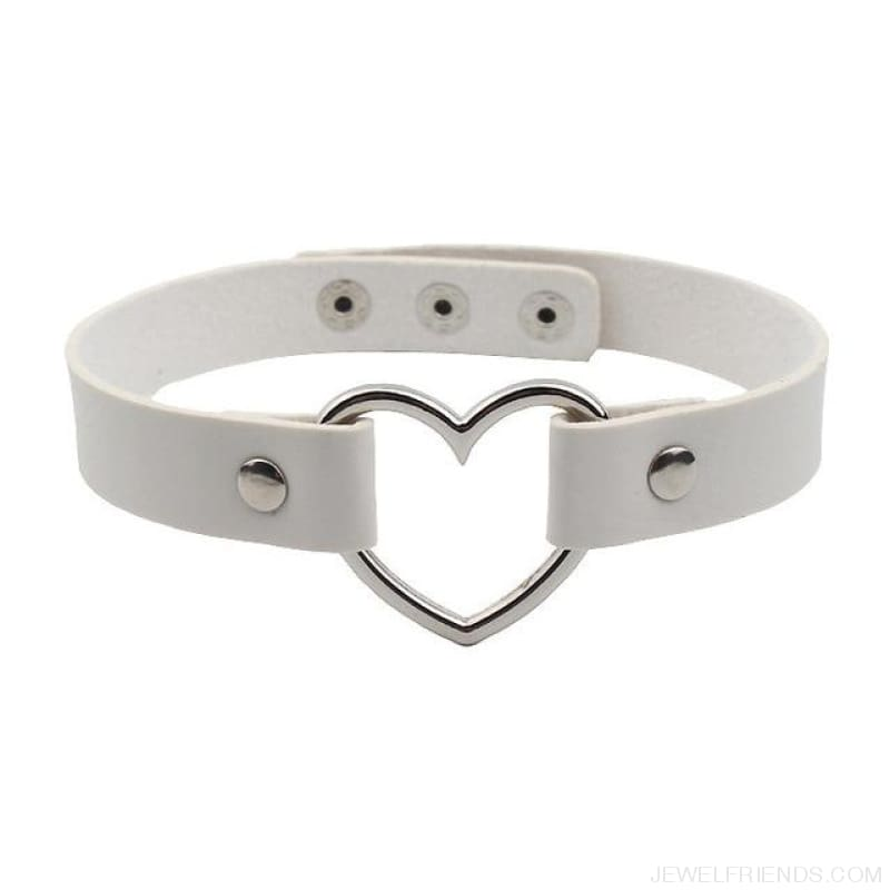 Leather Buckle Belt Stainless Steel Heart Chokers - White - Custom Made | Free Shipping