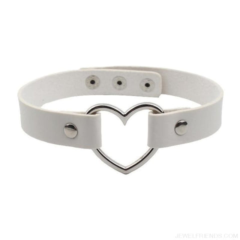 Image of Leather Buckle Belt Stainless Steel Heart Chokers - White - Custom Made | Free Shipping