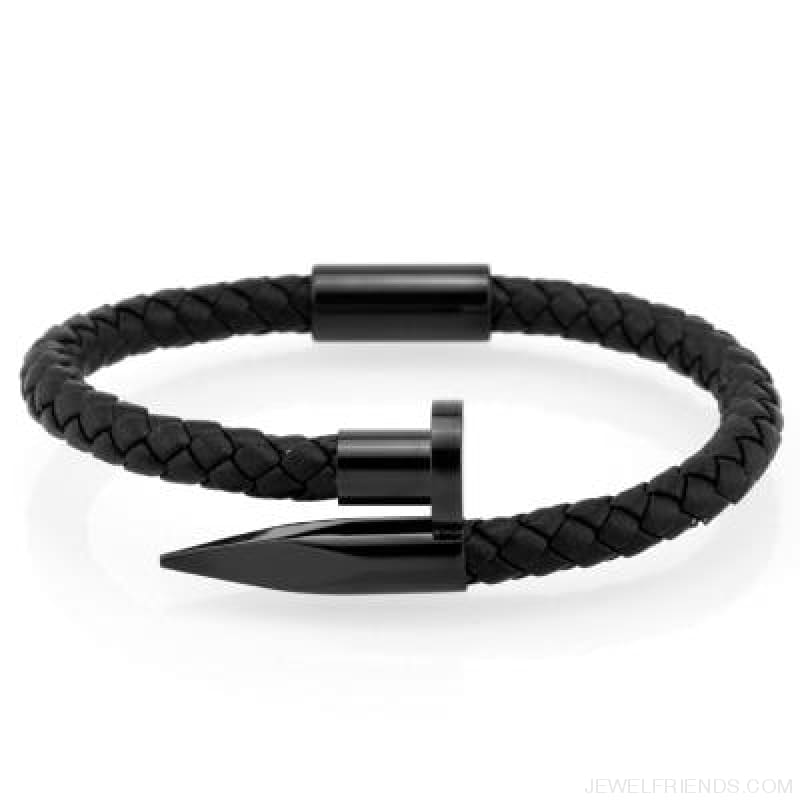 Leather Nail Bracelets - Black Leather Black / S 180Mm - Custom Made | Free Shipping