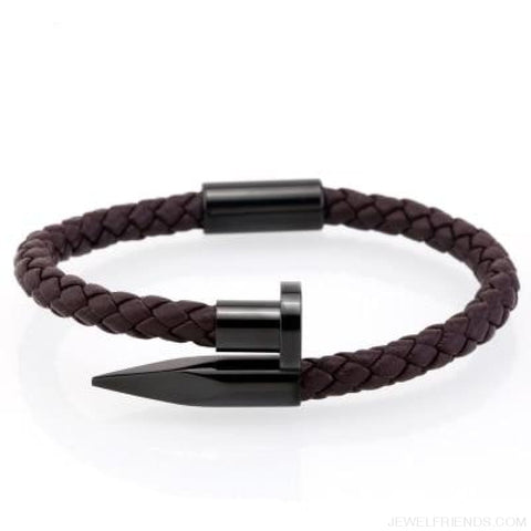Image of Leather Nail Bracelets - Brown Leather Black / S 180Mm - Custom Made | Free Shipping