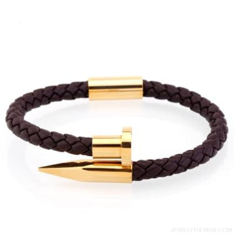 Leather Nail Bracelets - Brown Leather Gold / S 180Mm - Custom Made | Free Shipping