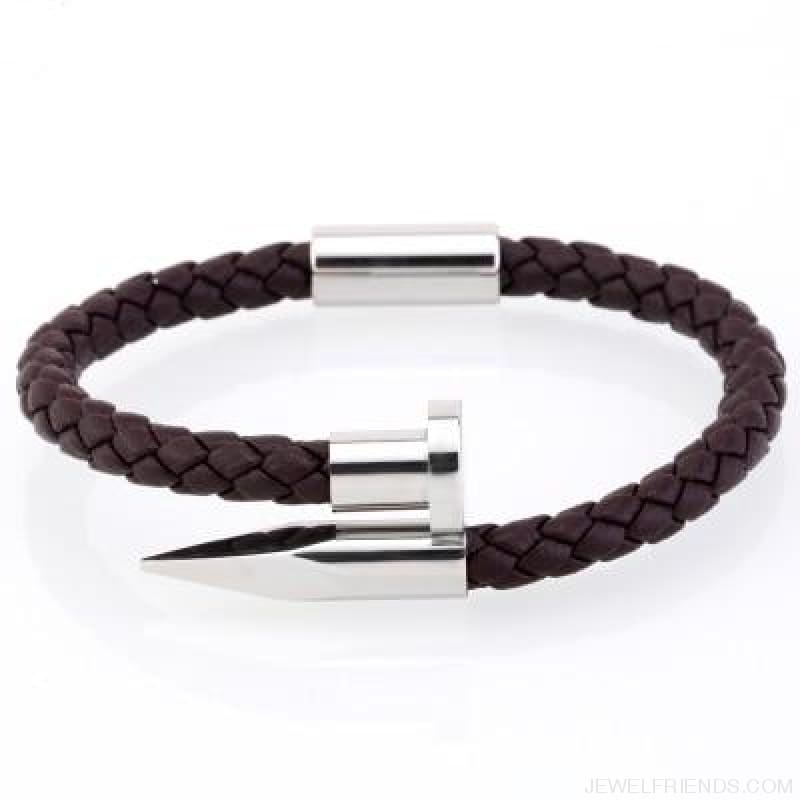 Leather Nail Bracelets - Brown Leather White / S 180Mm - Custom Made | Free Shipping