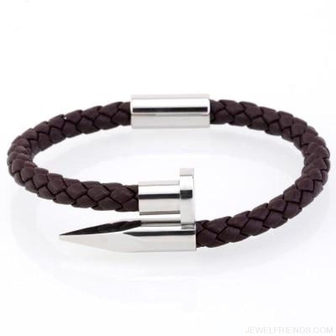 Image of Leather Nail Bracelets - Brown Leather White / S 180Mm - Custom Made | Free Shipping