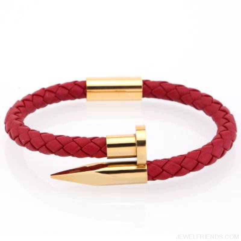 Leather Nail Bracelets - Red Leather Gold / S 180Mm - Custom Made | Free Shipping