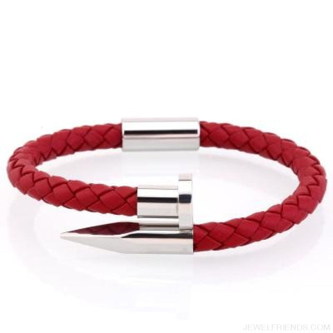 Leather Nail Bracelets - Red Leather White / S 180Mm - Custom Made | Free Shipping
