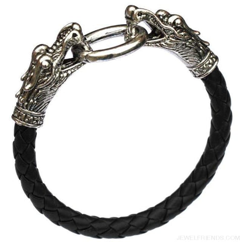 Leather Tibetan Silver Dragon Bracelet - Black - Custom Made | Free Shipping