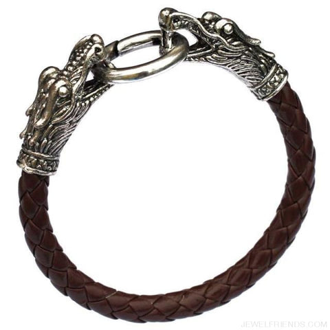 Leather Tibetan Silver Dragon Bracelet - Coffee - Custom Made | Free Shipping