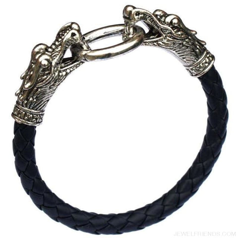 Leather Tibetan Silver Dragon Bracelet - Dark Blue - Custom Made | Free Shipping