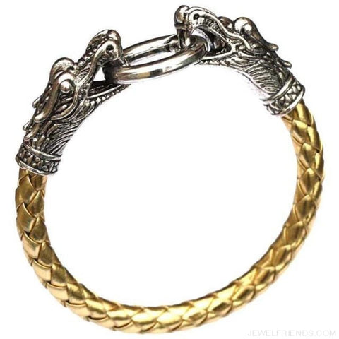 Image of Leather Tibetan Silver Dragon Bracelet - Golden - Custom Made | Free Shipping