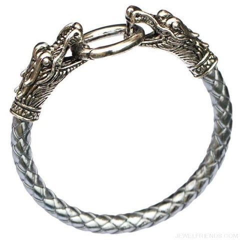 Leather Tibetan Silver Dragon Bracelet - Silver - Custom Made | Free Shipping