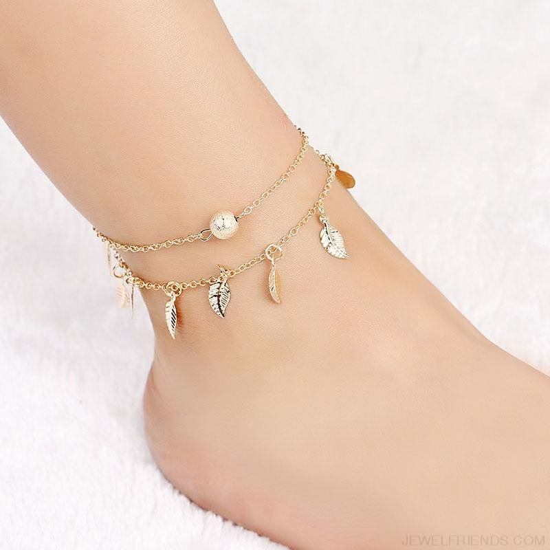 Leaves Double Layer Ankle Chain - Custom Made | Free Shipping