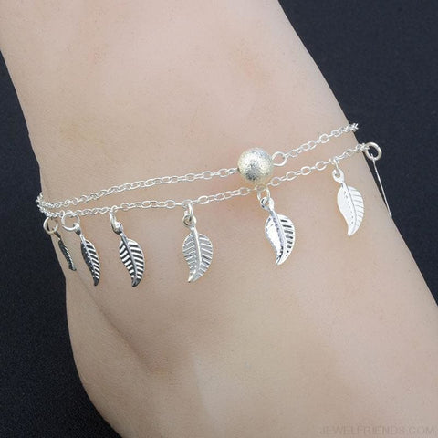 Image of Leaves Double Layer Ankle Chain - Custom Made | Free Shipping