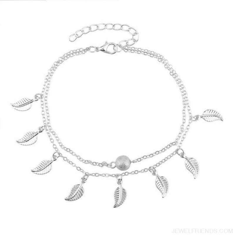 Leaves Double Layer Ankle Chain - Silvery - Custom Made | Free Shipping