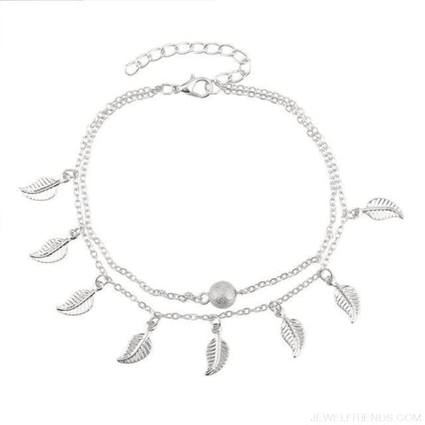 Image of Leaves Double Layer Ankle Chain - Silvery - Custom Made | Free Shipping