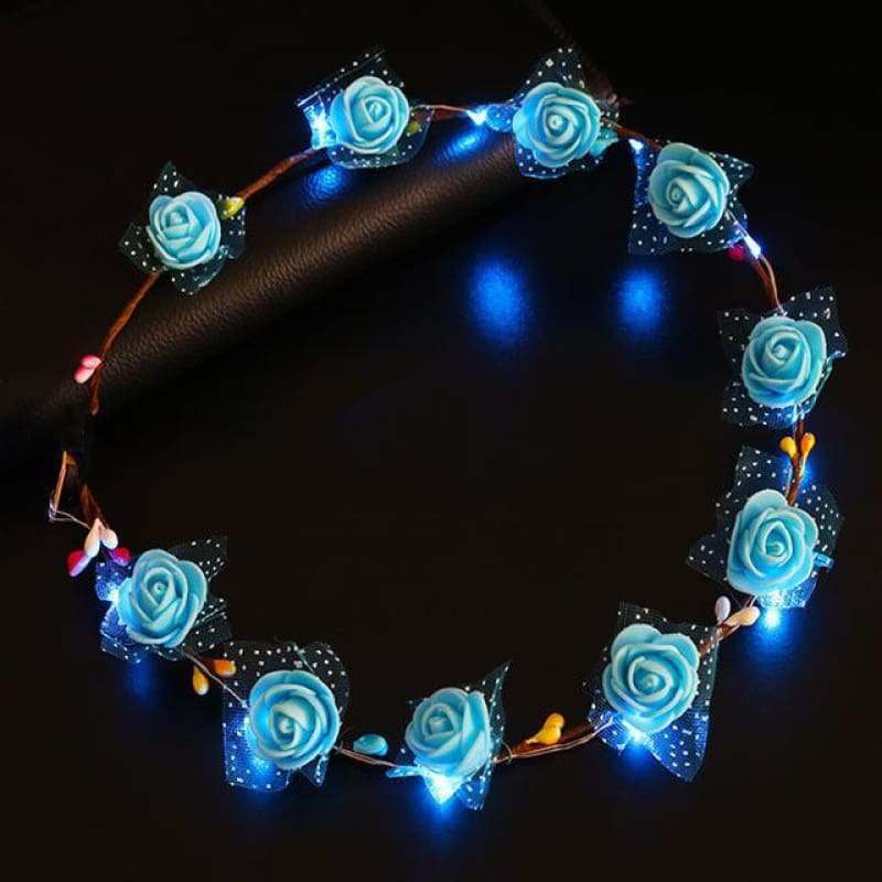 Led Anadem Glowing In The Dark - Bubble Flower Blue - Custom Made | Free Shipping