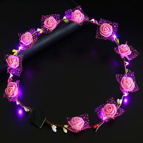Led Anadem Glowing In The Dark - Bubble Flower Pink - Custom Made | Free Shipping