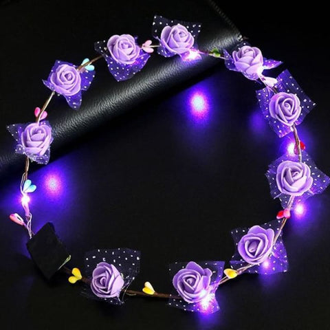 Image of Led Anadem Glowing In The Dark - Bubble Flower Purple - Custom Made | Free Shipping