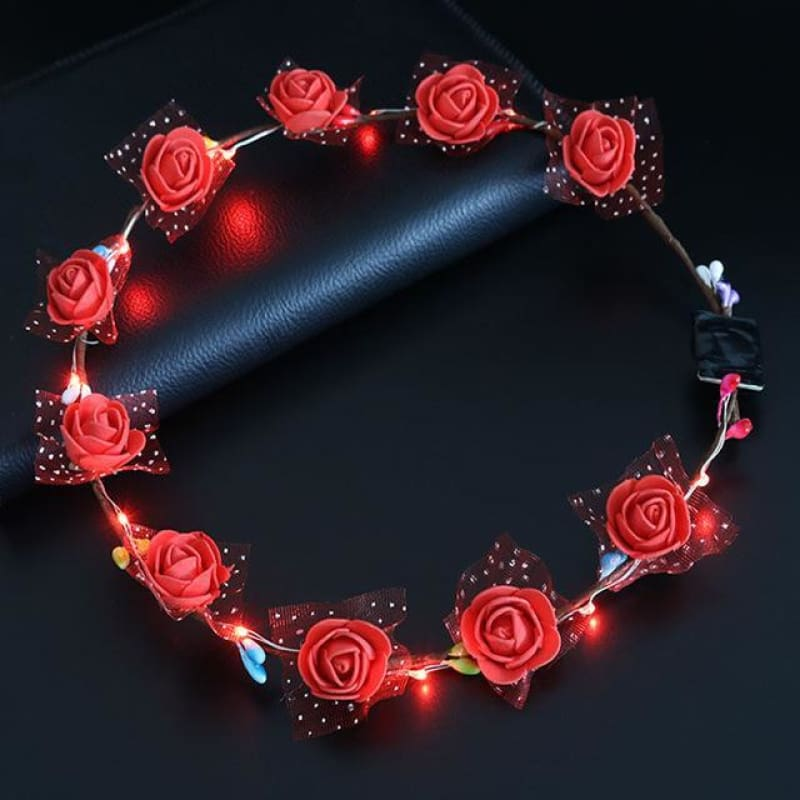 Led Anadem Glowing In The Dark - Bubble Flower Red - Custom Made | Free Shipping