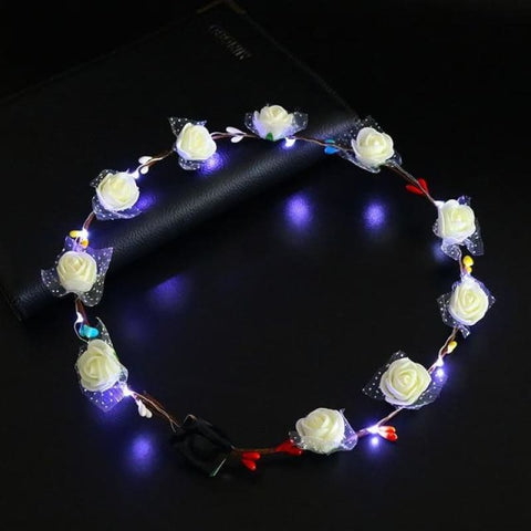 Led Anadem Glowing In The Dark - Bubble Flower White - Custom Made | Free Shipping