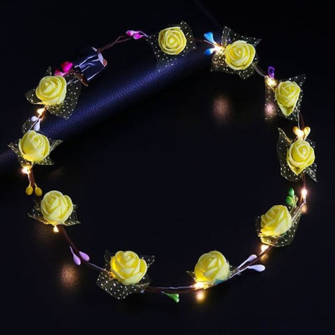 Led Anadem Glowing In The Dark - Bubble Flower Yellow - Custom Made | Free Shipping