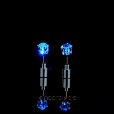 Led Light Up Glowing Crystal Stainless Steel Stud Earring - Blue - Custom Made | Free Shipping