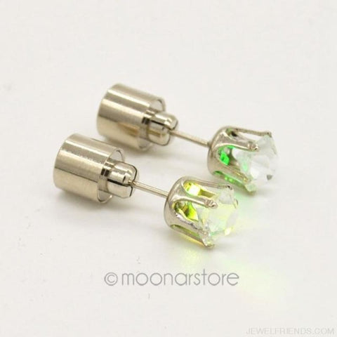 Image of Led Light Up Glowing Crystal Stainless Steel Stud Earring - Colorful - Custom Made | Free Shipping