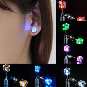 Led Light Up Glowing Crystal Stainless Steel Stud Earring - Custom Made | Free Shipping