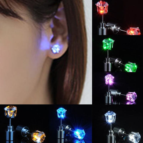 Image of Led Light Up Glowing Crystal Stainless Steel Stud Earring - Custom Made | Free Shipping