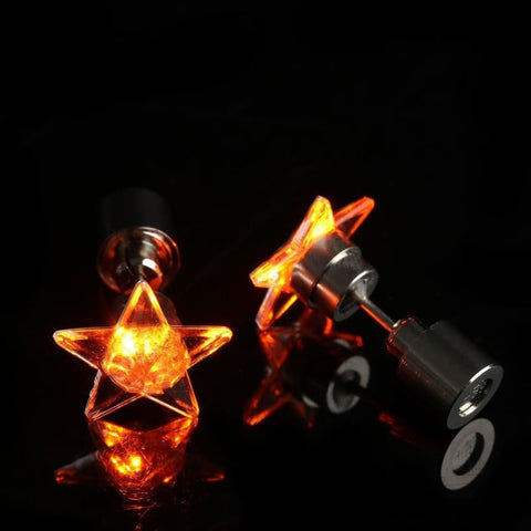 Led Stud Earrings Star Glowing - Custom Made | Free Shipping