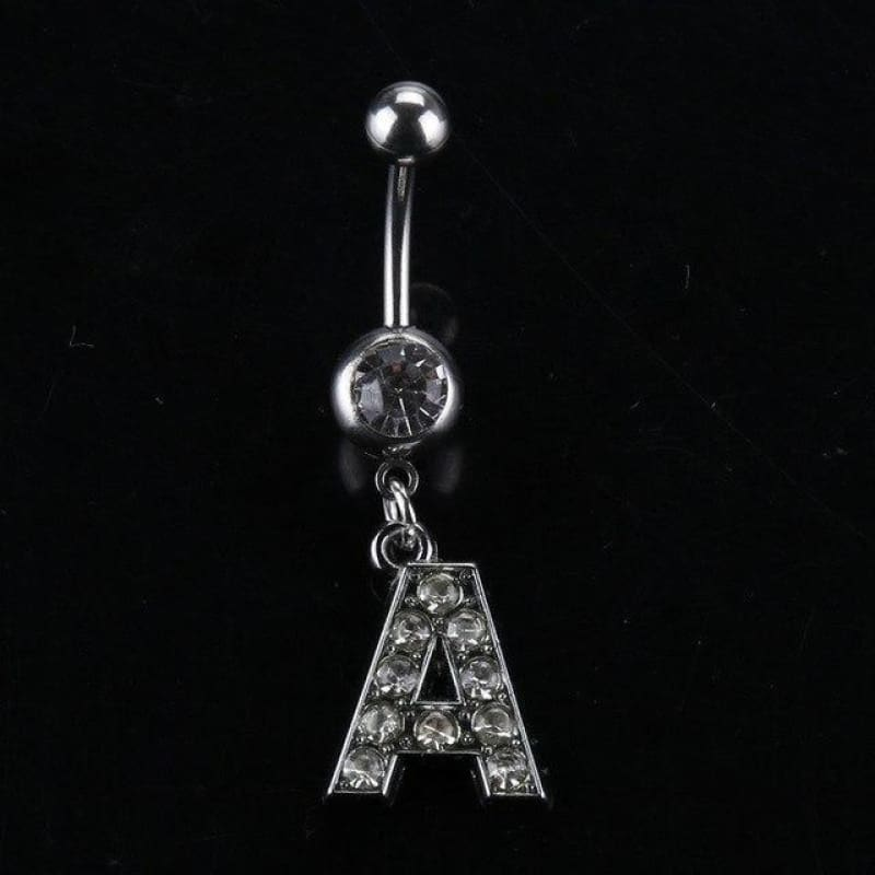 Letter Pendant Silver Crystal Navel Piercing - A - Custom Made | Free Shipping