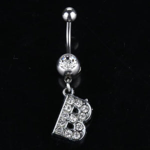 Letter Pendant Silver Crystal Navel Piercing - B - Custom Made | Free Shipping