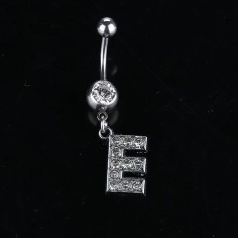 Letter Pendant Silver Crystal Navel Piercing - E - Custom Made | Free Shipping
