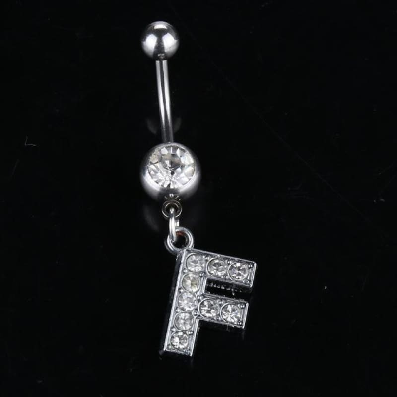 Letter Pendant Silver Crystal Navel Piercing - F - Custom Made | Free Shipping