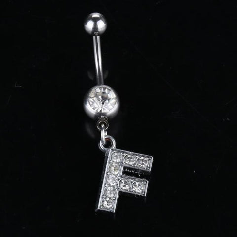 Image of Letter Pendant Silver Crystal Navel Piercing - F - Custom Made | Free Shipping