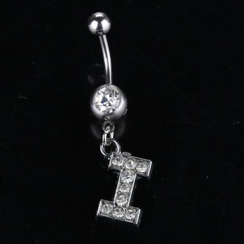 Letter Pendant Silver Crystal Navel Piercing - I - Custom Made | Free Shipping