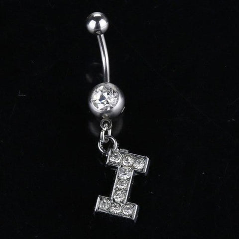 Image of Letter Pendant Silver Crystal Navel Piercing - I - Custom Made | Free Shipping