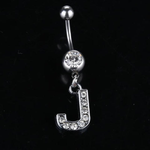 Letter Pendant Silver Crystal Navel Piercing - J - Custom Made | Free Shipping
