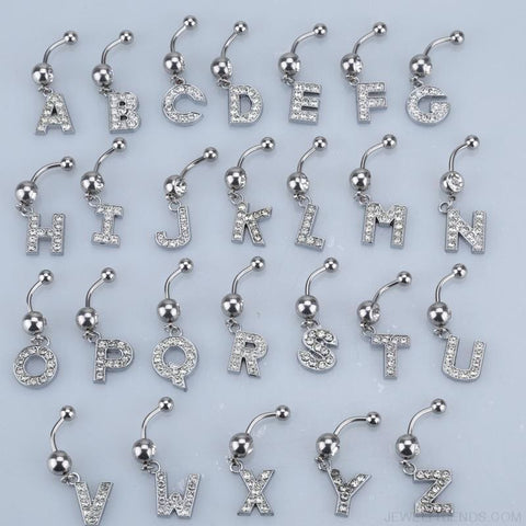 Image of Letter Pendant Silver Crystal Navel Piercing - Custom Made | Free Shipping