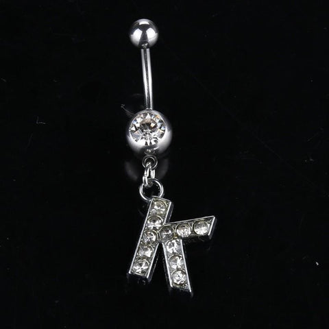 Letter Pendant Silver Crystal Navel Piercing - Custom Made | Free Shipping