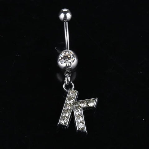 Letter Pendant Silver Crystal Navel Piercing - K - Custom Made | Free Shipping