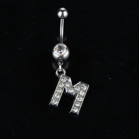 Letter Pendant Silver Crystal Navel Piercing - M - Custom Made | Free Shipping