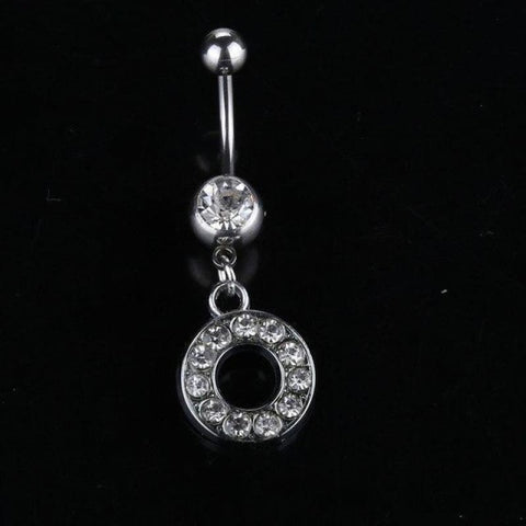 Letter Pendant Silver Crystal Navel Piercing - O - Custom Made | Free Shipping