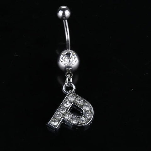 Letter Pendant Silver Crystal Navel Piercing - P - Custom Made | Free Shipping