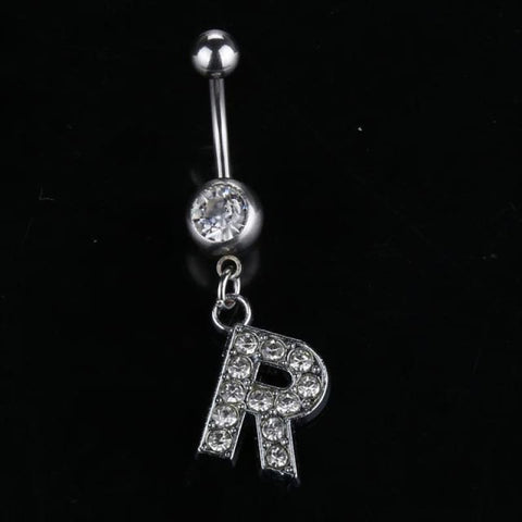 Letter Pendant Silver Crystal Navel Piercing - R - Custom Made | Free Shipping